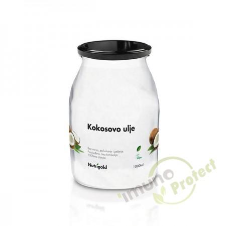 Kokosovo ulje bez mirisa Nutrigold, 1000ml staklenka